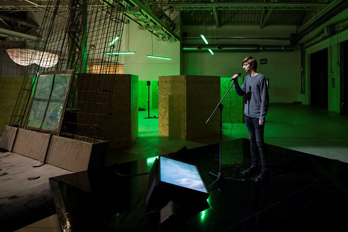 Laure Prouvost, Karaoke, 2014, installation view at Pirelli HangarBicocca, Milan, 2016. Photo: Agostino Osio