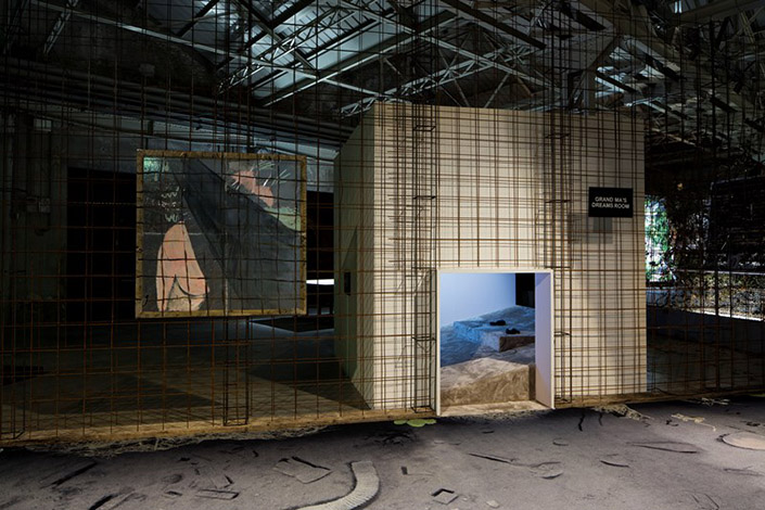 "Laure Prouvost, ""GDM – Grand Dad's Visitor Center"", exhibition view at Pirelli HangarBicocca, Milan, 2016. Courtesy of the artist and Pirelli HangarBicocca, Milan. Photo: Agostino Osio"