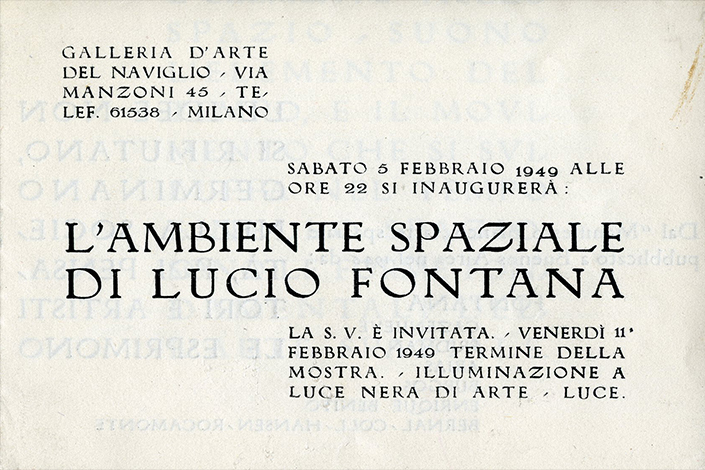 Invitation to the opening of the exhibition at Galleria del Naviglio, 1949 (front, back and inside). © Fondazione Lucio Fontana
