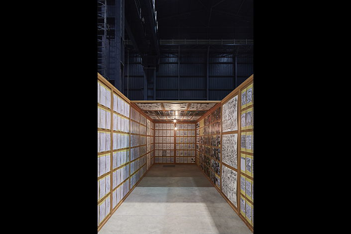 Matt Mullican, Untitled (Pavillion), 2005, installation view at Pirelli HangarBicocca, Milan, 2018 Courtesy of the artist and Pirelli HangarBicocca, Milan. Ringier Collection, Switzerland. Photo: Agostino Osio