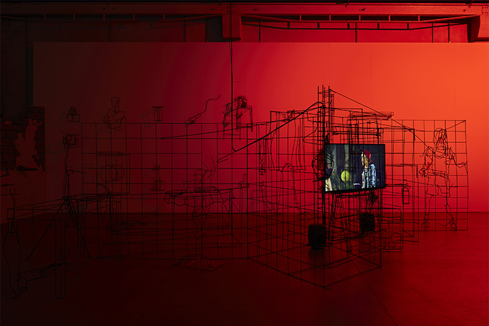 Neïl Beloufa Data for Desire (Rationalized room series), 2015 Installation view, Pirelli HangarBicocca, Milan, 2021 Courtesy Bad Manner's, Paris/Miami/Ibiza and Pirelli HangarBicocca, Milan Photo: Agostino Osio