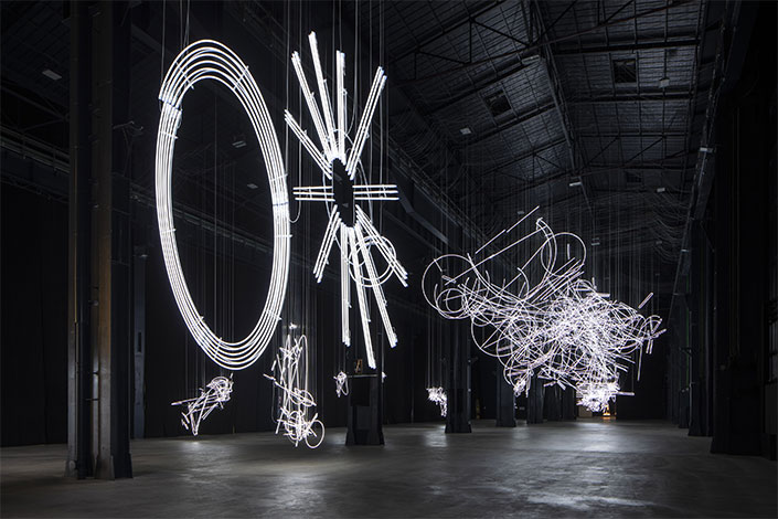 "Cerith Wyn Evans, ""….the Illuminating Gas"", exhibition view at Pirelli HangarBicocca, Milan, 2019. Courtesy of the artist and Pirelli HangarBicocca, Milan. Photo: Agostino Osio"