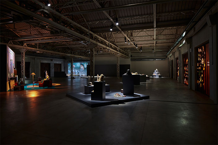 "Trisha Baga ""the eye, the eye and the ear"", exhibition view at Pirelli HangarBicocca, Milan, 2020. Courtesy the artist and Pirelli HangarBicocca, Milan Photo: Agostino Osio"