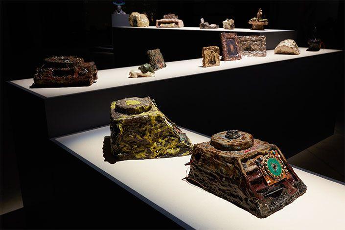 Trisha Baga Hypothetical Artifacts, 2015-2020, installation view at Pirelli HangarBicocca, Milan, 2020. Courtesy the artist; Gió Marconi, Milan; Greene Naftali, New York; SOCIÉTÉ, Berlin, and Pirelli HangarBicocca, Milan Photo: Agostino Osio