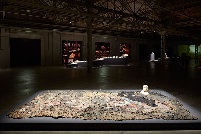 Trisha Baga No Source Found, 2019, installation view at Pirelli HangarBicocca, Milan, 2020. Courtesy the artist; Gió Marconi, Milan, and Pirelli HangarBicocca, Milan Photo: Agostino Osio