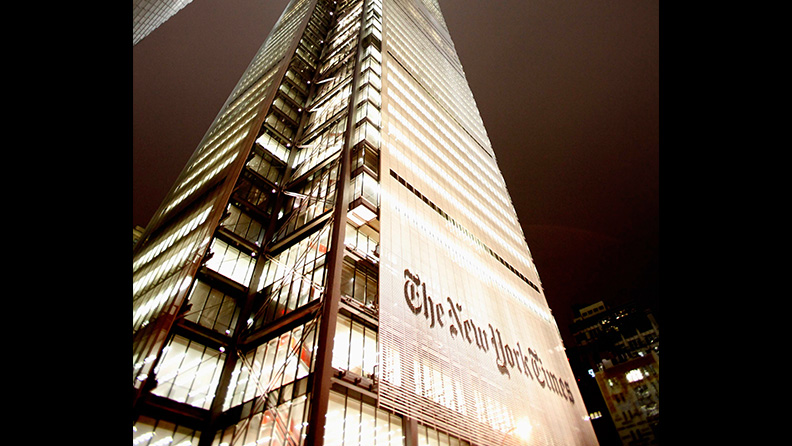 The New York Times Headquarters on 8th Avenue between 40th and 41st street in New York City
