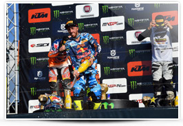Antonio Cairoli on the podium