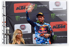 Antoni Cairoli on the podium