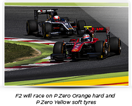 F2 will race on P Zero Orange hard and P Zero Yellow soft tyres