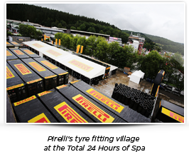 Pirellis tyre fitting village at the Total 24 Hours of Spa
