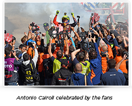 Antonio Cairoli celebrated by the fans
