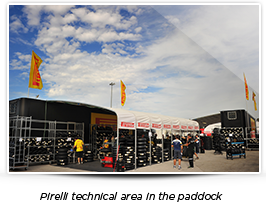 Pirelli technical area in the paddock